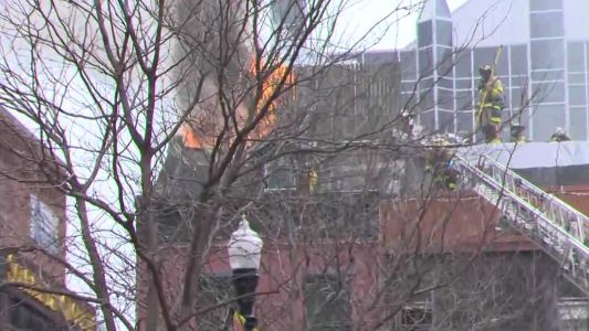 WATCH: Fire shoots through roof of Winghart's restaurant in Market Square in downtown Pittsburgh