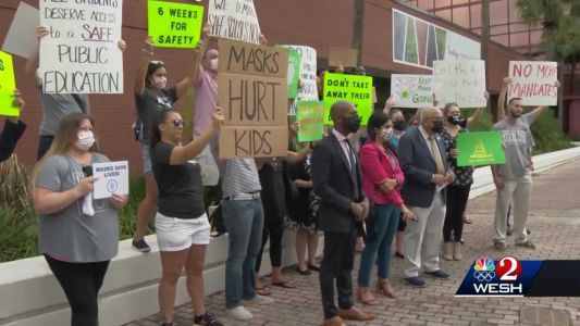 Parents, lawmakers hold dueling demonstrations on school mask mandates in Orange County