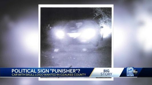 Political sign 'Punisher?' Man has signs run over 7 times