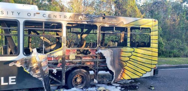 6 students, driver escape as UCF shuttle bus goes up in flames