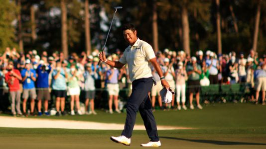 The Masters: Hideki Matsuyama survives late mistakes to win first men's golf major for Japan
