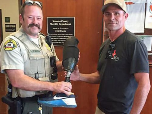Skydiver reunited with prosthetic leg he lost 10,000 feet up