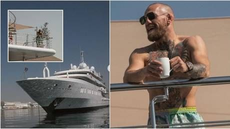 Conor McGregor poses on $780K-a-week superyacht moored at UFC Fight Island - as coach jokes 'there are no bigger boats'