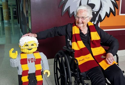 Sister Jean's 100th birthday celebrated with look-alike LEGO statue