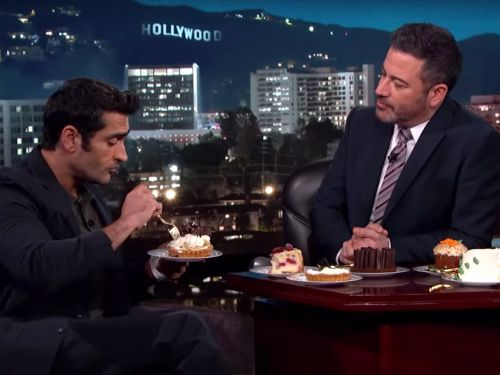 Kumail Nanjiani gets emotional after Jimmy Kimmel gives him desserts after a year of a no-sugar, no-carb diet that got him jacked for Marvel's 'The Eternals'