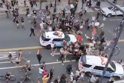 NYPD officer plows into crowd of George Floyd protesters in Brooklyn