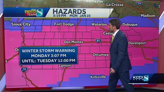 Winter storm warning extends through Tuesday afternoon