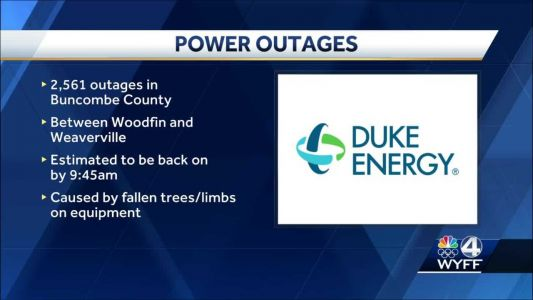 Duke Energy: Over 2,500 power outages in Buncombe County early Saturday; now restored