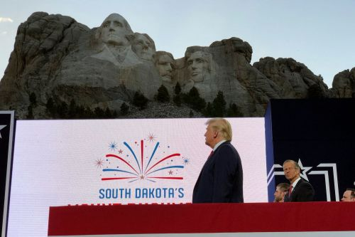 Trump seeks to claim the mantle of history in fiery Mount Rushmore address