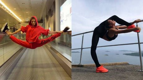 Training on the go: Russian gymnast Alexandra Soldatova shows off incredible flexibility at airport