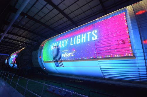 Space Center Houston Sets Saturn V Rocket Aglow With 'Galaxy Lights'