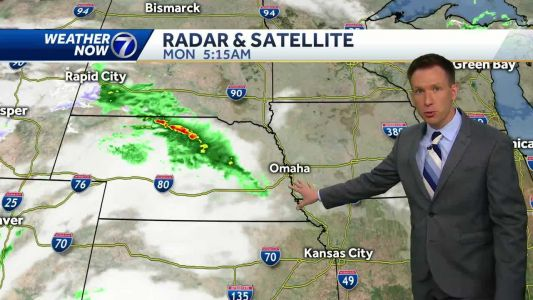 Cool with a few showers Monday, heavy rain possible tomorrow