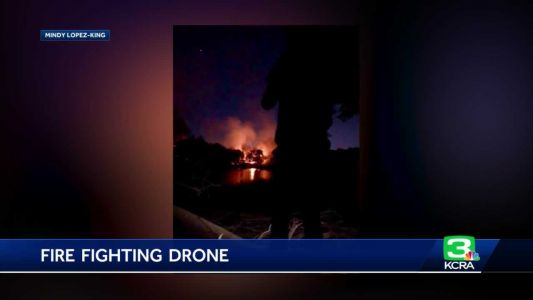 Sac Metro battles American River island fire with drones