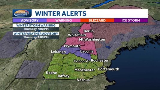 Winter storm warnings in effect for northern NH
