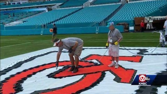 Belton School District's groundskeeper helps paint Super Bowl field