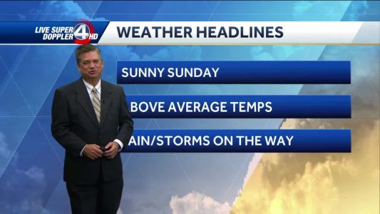 Videocast: Sunny today, storms on the way