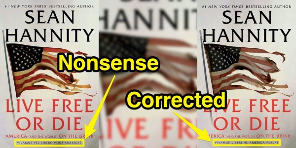 Sean Hannity quietly changed the cover of his new book after realizing the Latin motto on the cover was full of mistakes