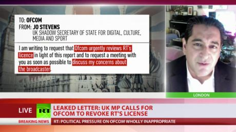Labour letter calling to revoke RT's license is 'devastating' proof of UK war on free press - Afshin Rattansi