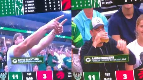 NFL superstar Aaron Rodgers loses out in beer-drinking competition during NBA playoffs