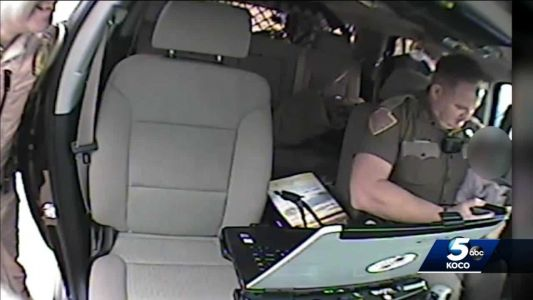 Video shows precious moments when trooper comforted child following high-speed chase