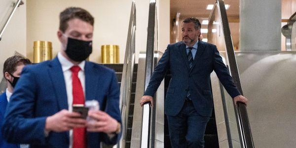 Sen. Ted Cruz no longer wears a mask at the Capitol, falsely claiming 'everybody' in the Senate has been vaccinated against COVID-19