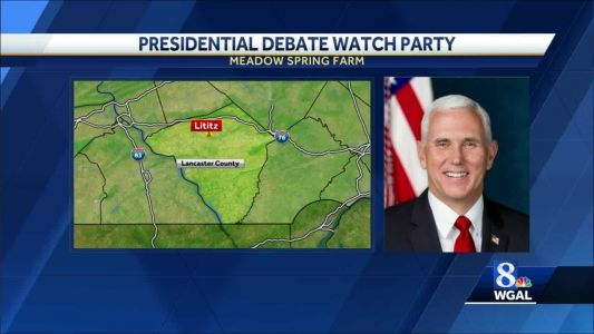Mike Pence arrives at Lancaster airport for debate watch