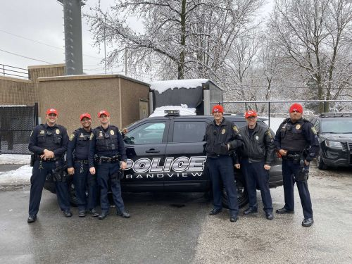 Grandview police officers sport Chiefs gear