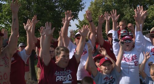 Arkansas fans face off Texas Tech for game 5 of the College World Series