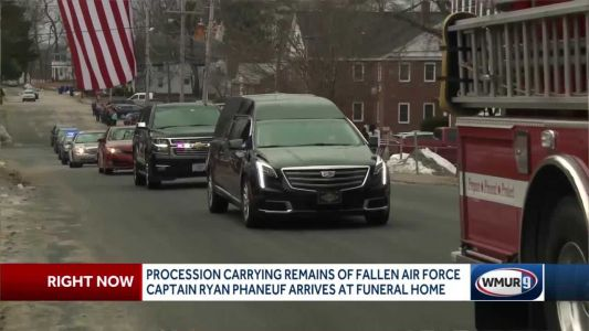 Procession escorts remains of fallen airman home