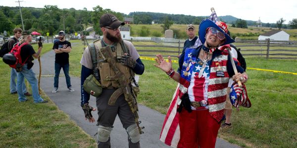 An antifa hoax about a 'peaceful flag burning to resist police' riled up right-wing groups in Gettysburg for no reason