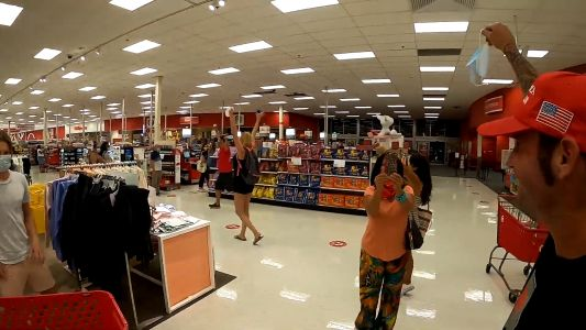 Anti-mask group marches through Florida Target chanting 'take off your mask'