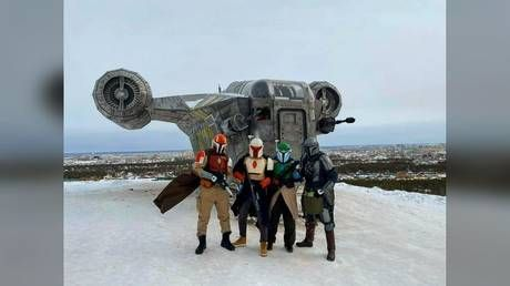 Life-size replica of Mandalorian ship 'Razor Crest' slides downhill after being hit by 'mini tornado' in Siberia