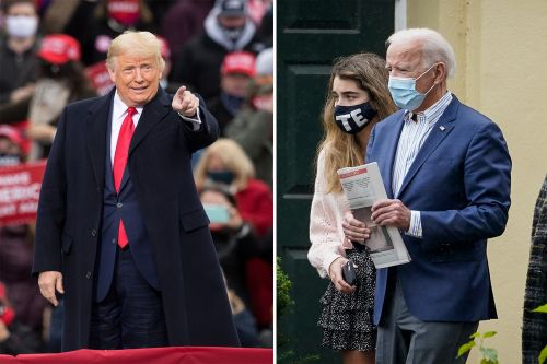 Trump holds raucous New Hampshire rally, Biden has quiet Sunday as election nears
