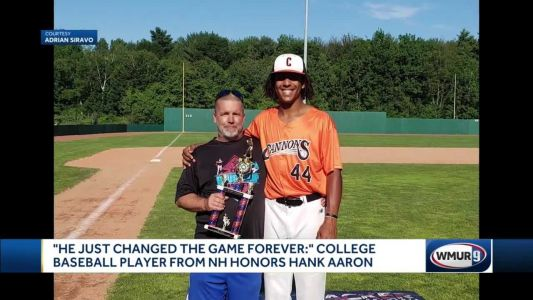 'He just changed the game forever': College baseball player from NH honors Hank Aaron
