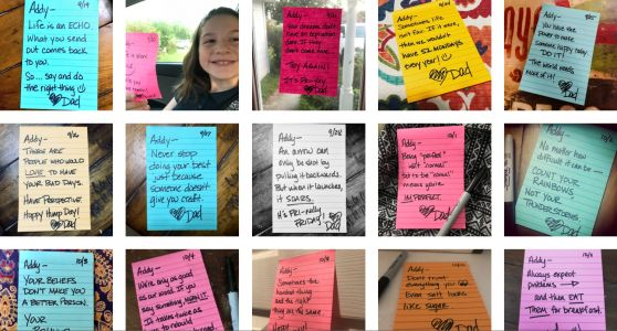 Father writes 690 inspiring lunch notes for his daughter, inspires others to be kind