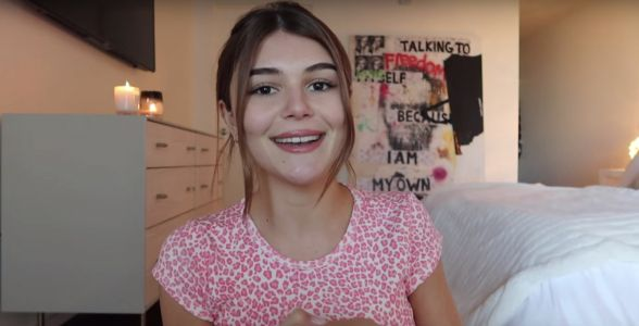 Lori Loughlin's daughter Olivia Jade returned to YouTube with a surprise video, but says she can't legally talk about 'anything going on'