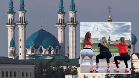 Russian women offend Muslim leaders by cheerily squatting in body-hugging workout outfits - using a mosque as the backdrop