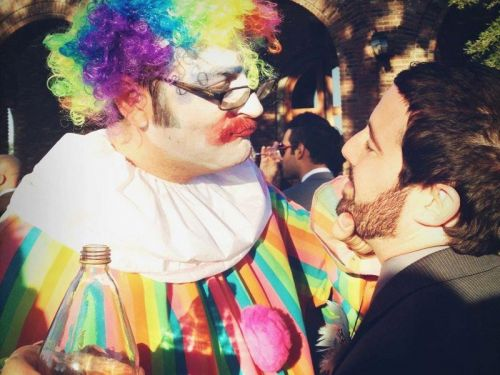 A man was told he could only attend a wedding if he came as a drunk clown - and he delivered