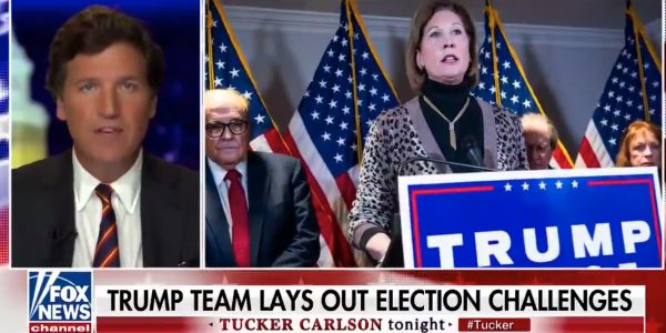 Tucker Carlson calls out Trump's election lawyer for refusing to show evidence supporting the president's baseless voter fraud claims