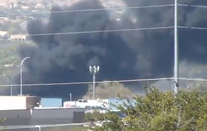 Fire burning near city recycling plant