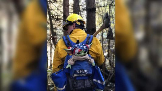 A boy sent his Baby Yoda doll to Oregon firefighters. Now they take it on their calls