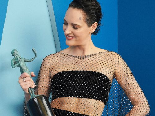 Phoebe Waller-Bridge thanked her makeup artist for drawing abs on her as she wore a sheer ensemble to the SAG Awards