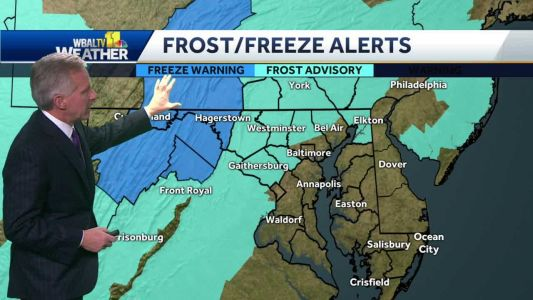 Frost north, west of Baltimore overnight