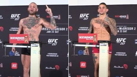 'Championship weight!' Conor McGregor makes a point as he makes weight for Dustin Poirier bout at UFC 257