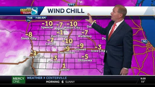 Bitter cold Tuesday ahead with wind chills below zero