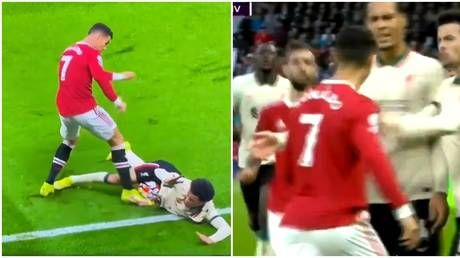 'Lucky not to get a red': Ronaldo accused of lashing out in 'total frustration' during Man Utd hammering by Liverpool
