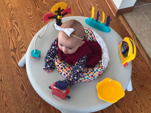This activity center's engaging toys and 360-degree rotating seat keep my 6-month-old entertained while I get things done around the house