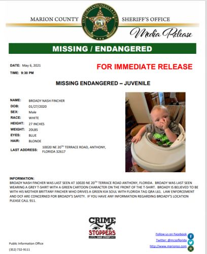 Missing, endangered child being sought by Marion County Sheriff's Office