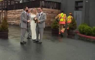 Bride and groom evacuate for tornado warning during reception