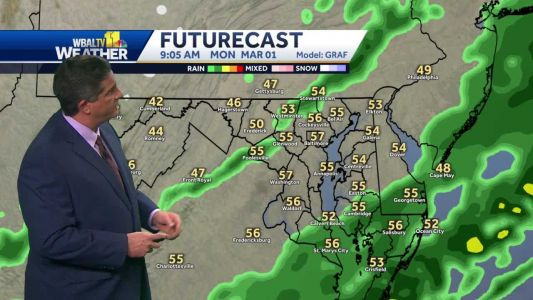 Morning showers in Maryland Monday